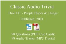 Classic Game Show Mania Audio Trivia - Disc 11 - People Places & Things - Released 2001